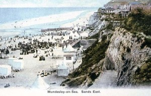 Cliff and beach looking east c1900.